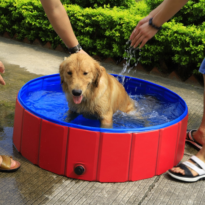 PVC Foldable Pet Dog Cat Swimming Pool PVC Washing Pond Dog Tub Bed Large Small Dog Swimming House Bed Summer Pool