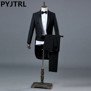 PYJTRL England Gentleman Two-piece Black White Groom Cheap Wedding Tuxedos Suits For Men Classic Tail Coat With Pants Slim Fit - thefashionique