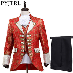 PYJTRL Men Five-piece Set Europe Style Court Marshal Clothing Groom Wedding Red Mens Suits Party Stage Singer Costume - thefashionique