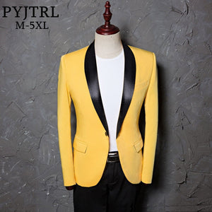 PYJTRL Men Plus Size Classic Shawl Lapel Slim Fit Suit Jacket Casual Yellow Blazer Designs Costume Stage Clothes For Singers - thefashionique