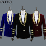 PYJTRL Men's Shawl Collar Royal Blue Suede Embroidery Loose Suit Jacket Stage Show Singer Double-breasted Men Blazer Designs - thefashionique