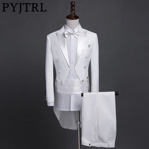 PYJTRL New Plus Size S-4XL Mens Classic Black White Shiny Lapel Tail Coat Tuxedo Wedding Groom Stage Singer Four Piece Suit - thefashionique