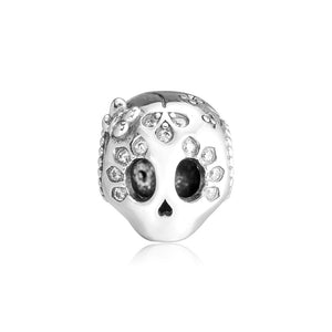 Pandulaso Sparkling Skull Charm Fits Original Sterling Silver Bracelets Woman DIY Beads For Jewelry Making Spring Garden Charm - thefashionique