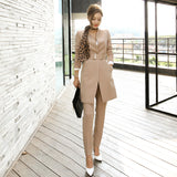 Pant Suits For Women Blazer Set Autumn Lady Business Office Work Korean Style Uniform V-neck Long Jacket Elegant Pants Suits - thefashionique