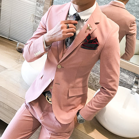 Party Dress For Mens Pink Tuxedo Shiny Pink Prom Suits Mens Dress Duits Wedding Esmoquin Korean Mens Suits Slim Fit Traje Rosado