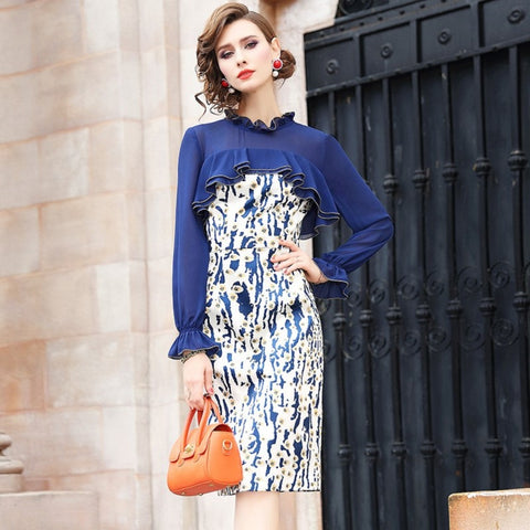 eec7a5923a6 Pencil Office Lady Package hip dress Spring 2019 new Lantern Sleeve Women  Party Dress Plus Size