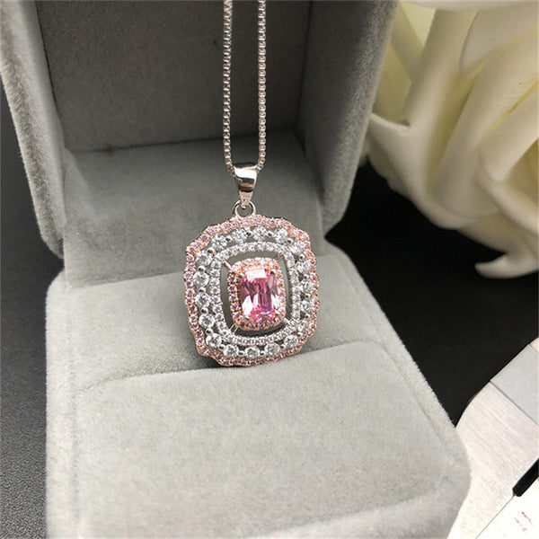 Pendants Necklaces Women S925 Sterling Silver Colorful Diamant Pink Topaz Temperament Elegant Necklace Set Fine Jewelry - thefashionique