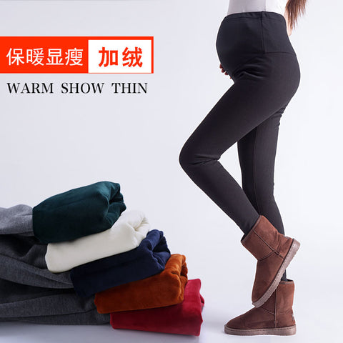 Pengpious pregnant women winter high waist solid color abdominal trousers keep warm fashion maternity leggings pregnancy pants