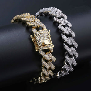 Personality Hip Hop/Punk Men's Bracelets Iced Out Cubic Zircon Miami Curb Cuban Link Chain Bracelet Jewelry Gifts for Male