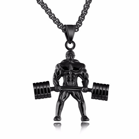 Personality Punk Dumbbells Weightlifting Pendant Necklaces For Cool Men 3 Colors Stainless Steel Box Chain Male Jewelery - thefashionique