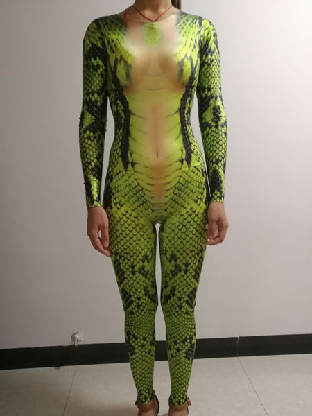 Personality Snake tattoo jumpsuit 3D Printing leotard elastic rompers Nightclub singer dancer performance clothing Role costumes - thefashionique