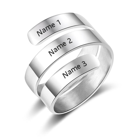 Personalized Rings For Women 2 Colors Name Engraved Charm DIY Jewelry For Wedding Birthday Gift for Mother (RI103745) - thefashionique