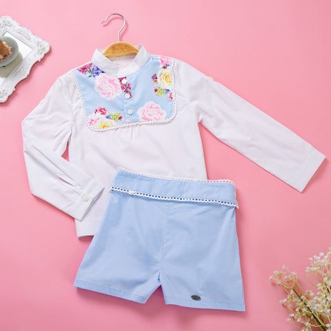 Pettigirl 2019 Blue Flower Printed Boy Clothing Set Stand Collar Top + Shorts Boutique Kids Clothing Outfit B-DMCS105-B263 - thefashionique