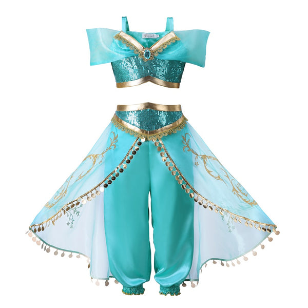 Pettigirl Aladdin's Lamp Jasmine Costume Girls Clothing Set Cosplay Baby Halloween Costume Kids Party Clothes - thefashionique
