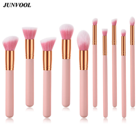 Pink Gold Makeup Tool Kits Professional Powder Blush Eyes Flame Brushes Oblique Flat Head Make Up Brush Tools & Accessories