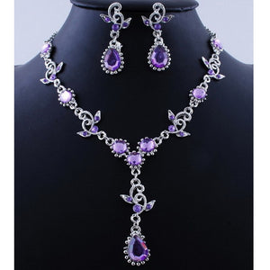 Pink Top Purple Crystal Vintage Jewelry Sets Necklace Earrings Bridal Wedding Engagement Jewelry Accessories Crystal Sets - thefashionique