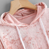Pink Velvet Hoodies Women Hood 2017 Autumn Sweatshirt Women Long Sleeve Cropped Hoodie Sweatshirt Jumper Pullover Female #915 - thefashionique