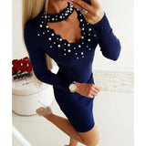 Pink Women Spring Dress Knitted Femme Robe Sexy Knit Skinny Pearl Dress Choker Neck Package Hip Bodycon Dress Formal Party M0471 - thefashionique