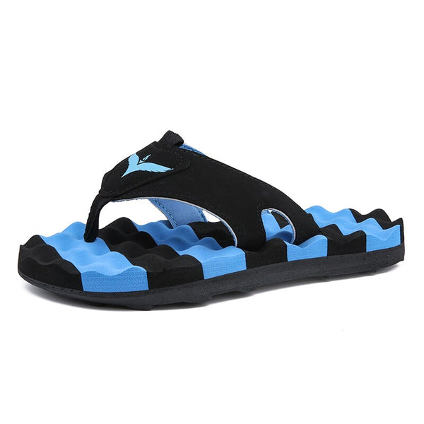 Plardin 2019 Fashion Energetic Striped Flip Flop Soft Sole Comfortable Breathable Massage Sole Slippers Casual Outdoor Shoes - thefashionique