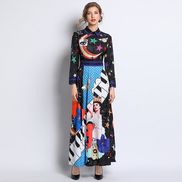 Pleated Bohemian Maxi Dresses Women 2019 New Fall Expansion Button Animal Print Zipper Elegant Skinny Ladylike Trip Casual Dress - thefashionique