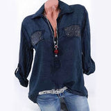 Plu Size Women Denim Blouses Long Sleeve Casual Ladies Pockets Blouse Shirt Plus Size Button Down Blusa Jeans Feminina#GHC - thefashionique