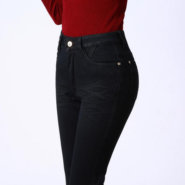 Plus Size 36 34 Femme Jeans High Quality Thickening Fleece Warm Black Jeans Trousers Hip Push Up Jeans Winter 2018 Mid Waist - thefashionique