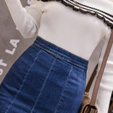 Plus Size 3XL Casual Slim Waist Denim Skirts Womens Mermaid Jeans skirt Streetwear Chic Female Split Midi Jeans Skirt 2019 - thefashionique