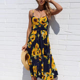 Plus Size 3xl Summer Dresses For Women Sexy Sleeveless Print Dress Backless Casual Sunsuit Female Floral Maxi Length Dress - thefashionique