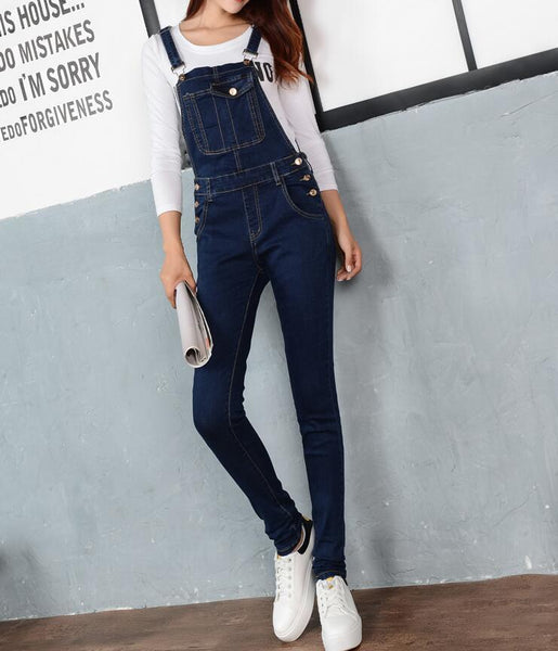 Plus Size 5xl Women Jumpsuit Denim Overalls 2019 New Spring Autumn Strap Ripped Pockets Full Length Denim Jeans Jumpsuit AE10 - thefashionique