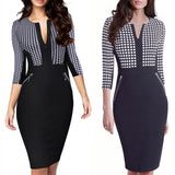 Plus Size Front Zipper Women Work Wear Elegant Stretch Dress Charming Bodycon Pencil Midi Spring Business Casual Dresses 837 - thefashionique