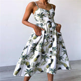 Plus Size S-3XL Women Summer Boho Sexy Backless Dress Floral Bohemian Spaghetti Strap Button Decor Swing Midi Dress with Pockets - thefashionique