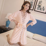 Plus Size Sexy Woman Bathrobe Nightgowns Set Full Cotton Embroidered Floral Female 2 Piece Home Wear Sleep Suit Robe Sleepshirts - thefashionique