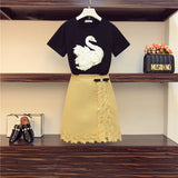 Plus Size Skirts Set for Women New Summer Women's Two Piece Sets Swan Black T-shirt + Lace Package Hip Skirt Sets Ensemble Femme