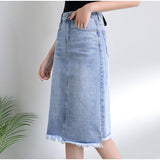 Plus Size Streetwear Tassel Hem White Jeans Midi Skirt 3Xl 5Xl 7Xl Summer Spring Fringed Hem Casual Denim Skirts - thefashionique