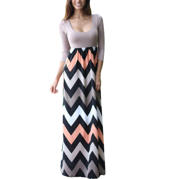 Women Summer Beach Boho Maxi Dress 2018 High Quality Brand Striped Print Long Dresses Feminine Plus Size - thefashionique