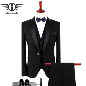 Plyesxale Black Suit Men 2018 Slim Fit Groom Wedding Suits For Men Stylish Brand Shawl Collar Formal Business Dress Suits Q128 - thefashionique