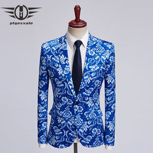 SFE Mens Fashion Suit Jacket Blazer Elk Print Lapel Slim Fit for Luxury Weddings Party Dinner Prom