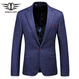 Plyesxale Brand Men Blazer 2018 Slim Fit Man Blazer Casual Suit Jacket Stylish Blue Plaid Blazers Brand Wedding Formal Wear Q196 - thefashionique