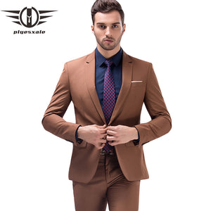 Plyesxale Brown Green Burgundy Black Pink Suits Men 2018 Brand Slim Fit Groom Wedding Suit Korean Fashion Party Prom Wear Q121 - thefashionique