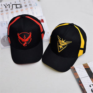 Pokemon Go Hat Team Valor Team Mystic Team Instinct Pokemon Cap Go Team Black Baseball Cap Men Snapback Pokemon Hat Women