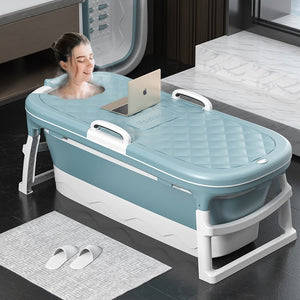 Portable 138cm Adult Bath Tub Barrel Sweat Steaming Bathtub Plastic Thicken Folding Bathtub Home Massage Spa Sauna
