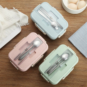 Portable Lunch Box With Spoons Chopsticks Creative Plastic Pink Blue Food Container Adults Kid Lunchbox Microwave Dinnerware 1pc - thefashionique