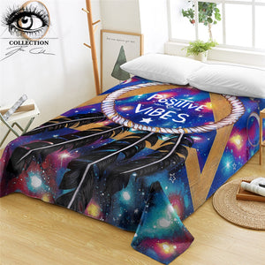 Positive Vibes Moon by Pixie Cold Art Flat Sheet Galaxy Aries Bed Sheet Dreamcatcher Eclipse Bedspreads Geometric Bedlinen 1PC