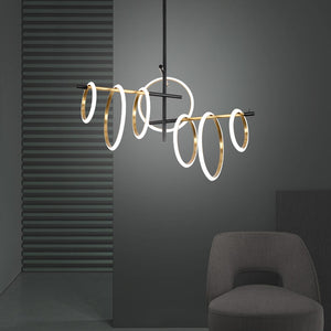 Postmodern LED Chandelier lighting living room Pendant Lamp bedroom dining home deco Ring Magnetic attraction Hanging Lights