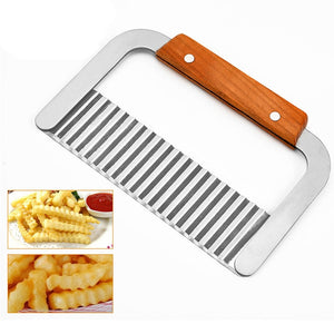 Potato Fry Cutter Stainless Steel Kitchen Accessories Serrated Blade Easy Slicing Banana Fruits Potato Wave Knife Chopper - thefashionique