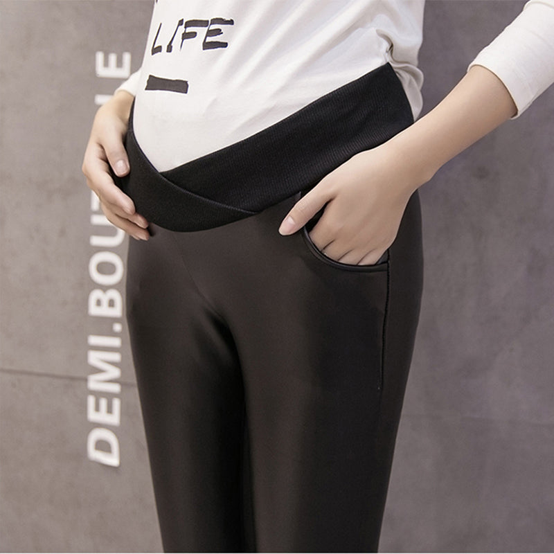 Pregnant Women's Artificial Leather Leggings Maternity Winter Thicken Velvet Pants High Stretch Outwear Clothing For Pregnancy - thefashionique