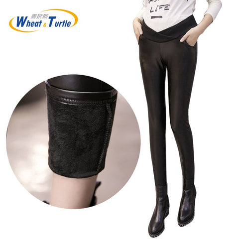 Pregnant Women's Artificial Leather Leggings Maternity Winter Thicken Velvet Pants High Stretch Outwear Clothing For Pregnancy