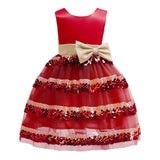 Princess dress summer new style o-neck sleeveless ball gown dress bowknot belt decoration mesh vestidos kids dresses for girls - thefashionique