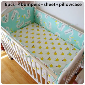 Promotion! 6PCS Baby Bedding Set 100% Cotton Curtain Crib Bumper (bumpers+sheet+pillow cover) - thefashionique