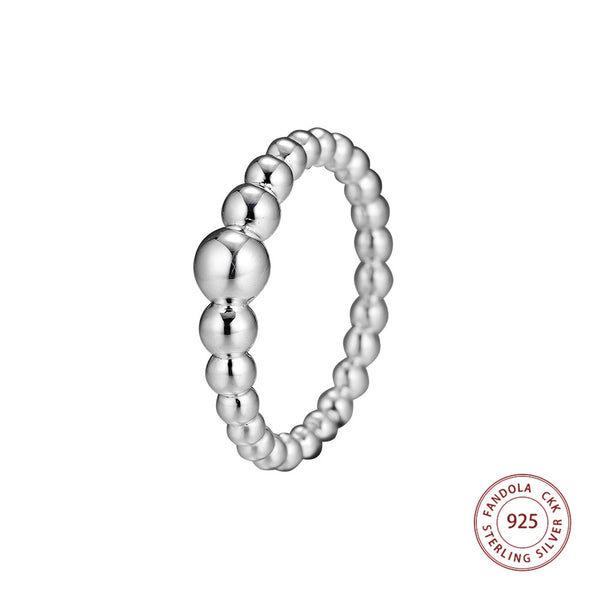 Promotion Sale 100% 925 Sterling Silver String of Beads Finger Ring Wedding Rings For Women Luxury Jewelry Making - thefashionique